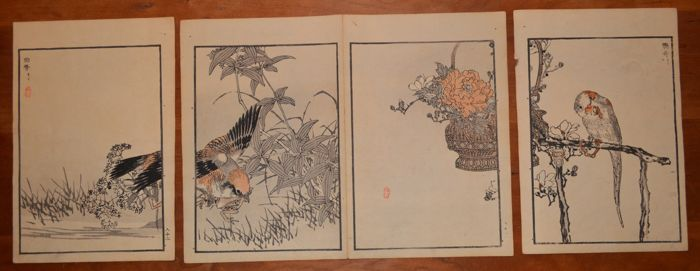 "Four original woodblock prints by Kōno Bairei (1844-1895) from ""Hyakucho gafu"" (Album of One Hundred Birds), vol. 3 - Japan - 1881"