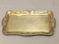Antique silver presenting tray with floral patterns and acanthus leaf - Germany - 1910