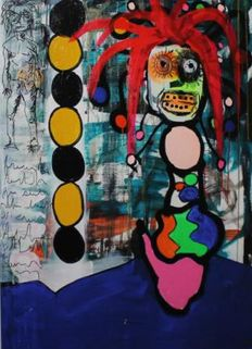Paul Kostabi -  Key race Alert, Curtains, The flowerpot head