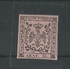 Modena, 1854 - 10 cent. pink with dot - Sass.  no. 9