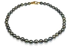 Lustrous 8-11 mm Tahitian Pearl Necklace Set with a Solid Silver Yellow Clasp - Authenticity Certificate