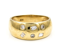 Yellow gold 18 kt/750 - Cocktail ring - Brilliant cut and baguette cut diamonds set of 0.20 ct - Cocktail ring size 17 (SP)
