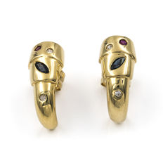 Yellow gold 18 kt/750 earrings - Diamonds 0.10 ct - Rubies 0.10 ct  - Sapphires, 0.20 ct - Earring height: 16.55 mm