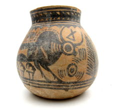 Indus Valley Painted Terracotta jar with Bull Motif - 102x105mm