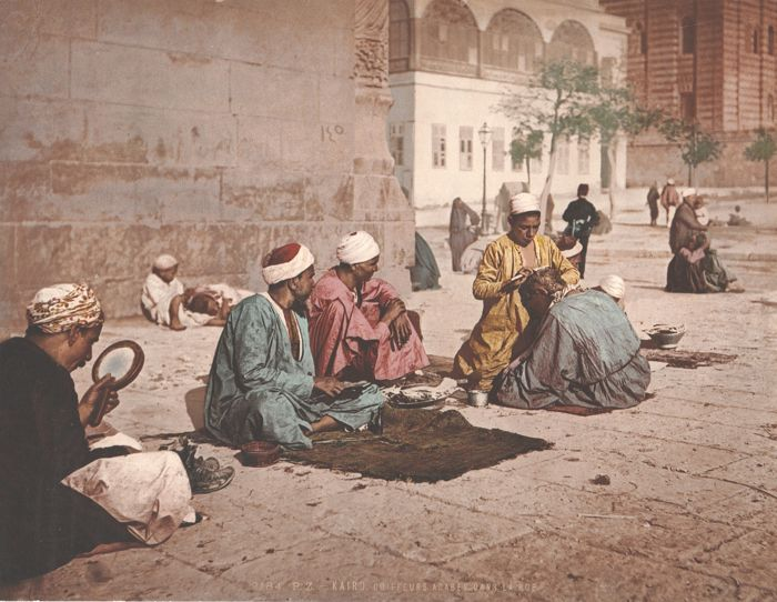 Photochrom Zurich (PZ) - Arab barbers in the street, Cairo, Egypt