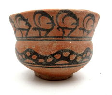 Indus Valley Painted Terracotta Bowl With Deer & Snake Motif - 118x80 mm