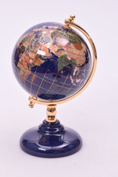 Precious Globe made of Lapis Lazuli and 45 other Semi-precious stones - 140 mm - 1500 g