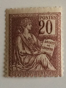 France 1900/1901 - Mouchon variety with displaced numbers signed Scheller - Yvert no. 113a
