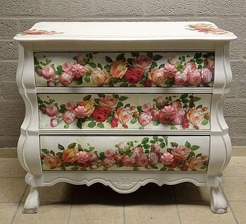 Belly Cabinet, pimped with roses and chalk paint, The Netherlands, 1960s
