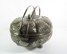 Incense burner or hand warmer white metal - Persia - 19th/20th century