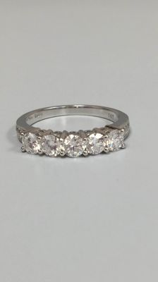14kt Elegance White Gold Diamonds' Ring 1.10ct - size 6,5