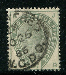 Great Britain 1883/84 - Queen Victoria - 5 pence dull green, Stanley Gibbons 193