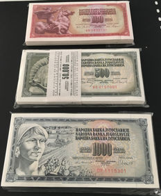 Yugoslavia - 100 x 100, 500 and 1000 Dinars 1965, 1970 and 1981 - Pick 80, 85 and 91