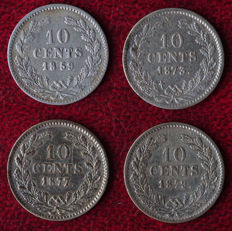The Netherlands – 10 cent 1859, 1873, 1877 and 1879 Willem III – 4 different coines – silver