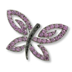 Butterfly pendant set with pink imperial topazes and brilliants, 585 white gold