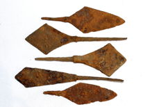 Selection of 5 Ancient iron arrows  - 89-126 mm / 82.5 grams (5)