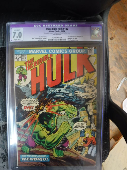 The Incredible Hulk #180 - 1st Cameo Wolverine - CGC Restored 7.0 - (1974)