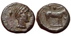 The Greek Antiquity - Sicily, Nakona, late 5th century BC - Æ Onkia (Bronze, 11mm, 1,63g.) - Head of nymph / Goat - CNS 2; SNG ANS -; HGC 2, 957 - Rare