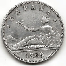 Spain, 1st Republic, 2 pesetas 1869 (one coin)