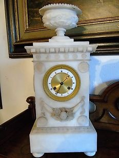 White - Alabaster - Empire - Mantel clock - Liege - ca. 1830
