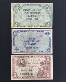 Germany - ½, 1 and 5 Deutsche Mark 1948 - Pick 1, 2 and 4