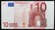 Europen Union - Ireland (T) - 10 Euro 2002 - Duisenberg- ERROR note white stripe  without HOLOGRAM -