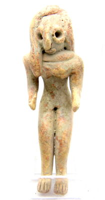 Indus Valley Terracotta Seated Female Fertility Idol  / Figurine  - 57 mm