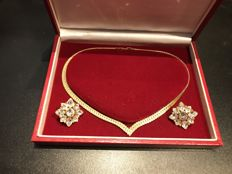 Boxed Napier gold and crystal statment set fully signed