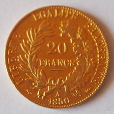 France - 20 Francs 1850 A (Paris) 'Ceres' - Gold