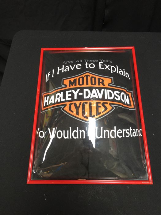 Original Harley Davidson T Shirt In A Frame With Curved Glass 20th