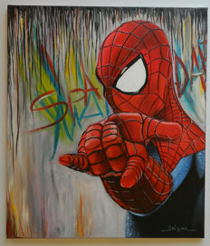 Original Oil Painting On Canvas By Gabriel Brisan - Spider-man - Amazing (2017)