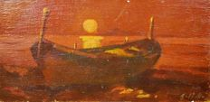 Unknown (19th century) Barca al tramonto