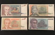 Yugoslavia - Lot 400 banknotes 1993 - Pick 121, 124, 128, 129