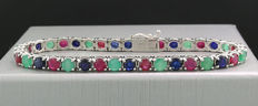 Emerald ruby sapphire bracelet 11.65ct in total in 585 white gold *no reserve price!*
