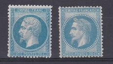 France 1862/68 - Napoléon III Laureate and unlaureled, 20c blue - Yvert no 22 and 29B