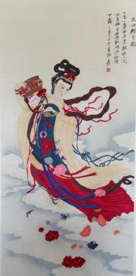 Hand painted large scroll painting (copy Zhang Daqian) - China - late 20th century