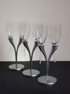 Philipe Di Meo Reso for Moet & Chandon - 3x candelabra with two champagne flutes