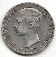 Spain, Alfonso XII, 1 peseta 1876 (one coin)