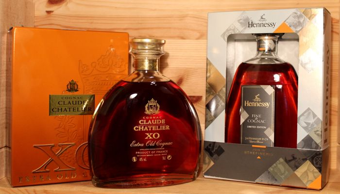 2 bottles cognac: 1. Claude Chatelier X.O Extra old Cognac incl. orig. box, 70cl, 40%vol + 2. Hennessy Fine Cognac, Limited Edition, 2016