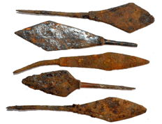 Selection of 5 Ancient iron arrows  - 100-122 mm / 83.2 grams (5)