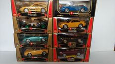 Bburago - Scale 1/18 - Lot with 8 Porsche Models: 5 x 911 model and 3 x GT3 model
