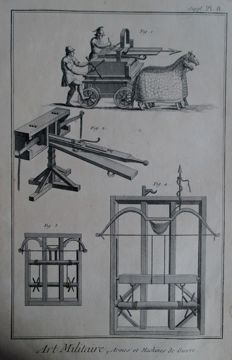 5 copper engravings - Benard (1734-1777) Paris - Art Militaire - Armes et machines de guerre - from the Diderot book