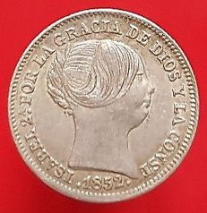 Spain - Isabel II, 1 silver Real, Madrid 1852 - 15 mm / 1.21 g