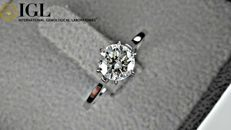 1.01 ct round diamond ring in white gold *** NO RESERVE PRICE ***