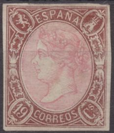 Spain 1865 – Isabel II – 19 cuartos – chestnut colour Llach mark – Edifil 71
