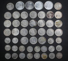 "France - Lot of 50 coins (50 Centimes to 2 Francs) ""Semeuse"" 1909/1919 - Silver"