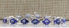 17.59 Carat Tanzanite and Diamond Bracelet In 14K Solid White Gold  *** FREE SHIPPING *** NO RESERVE ***