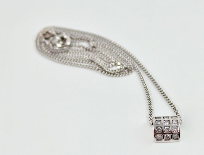 18 kt. White gold - Necklace with pendant - 0.35 ct Diamond
