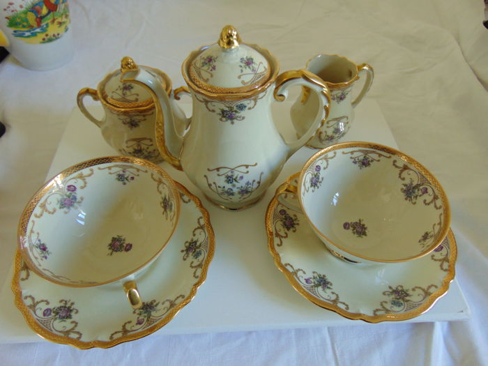 L E C Limoges - Limoges porcelain coffee service from