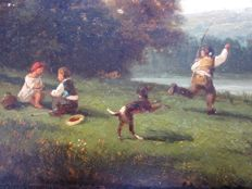 Ancient painting - 19th century - Riverside children